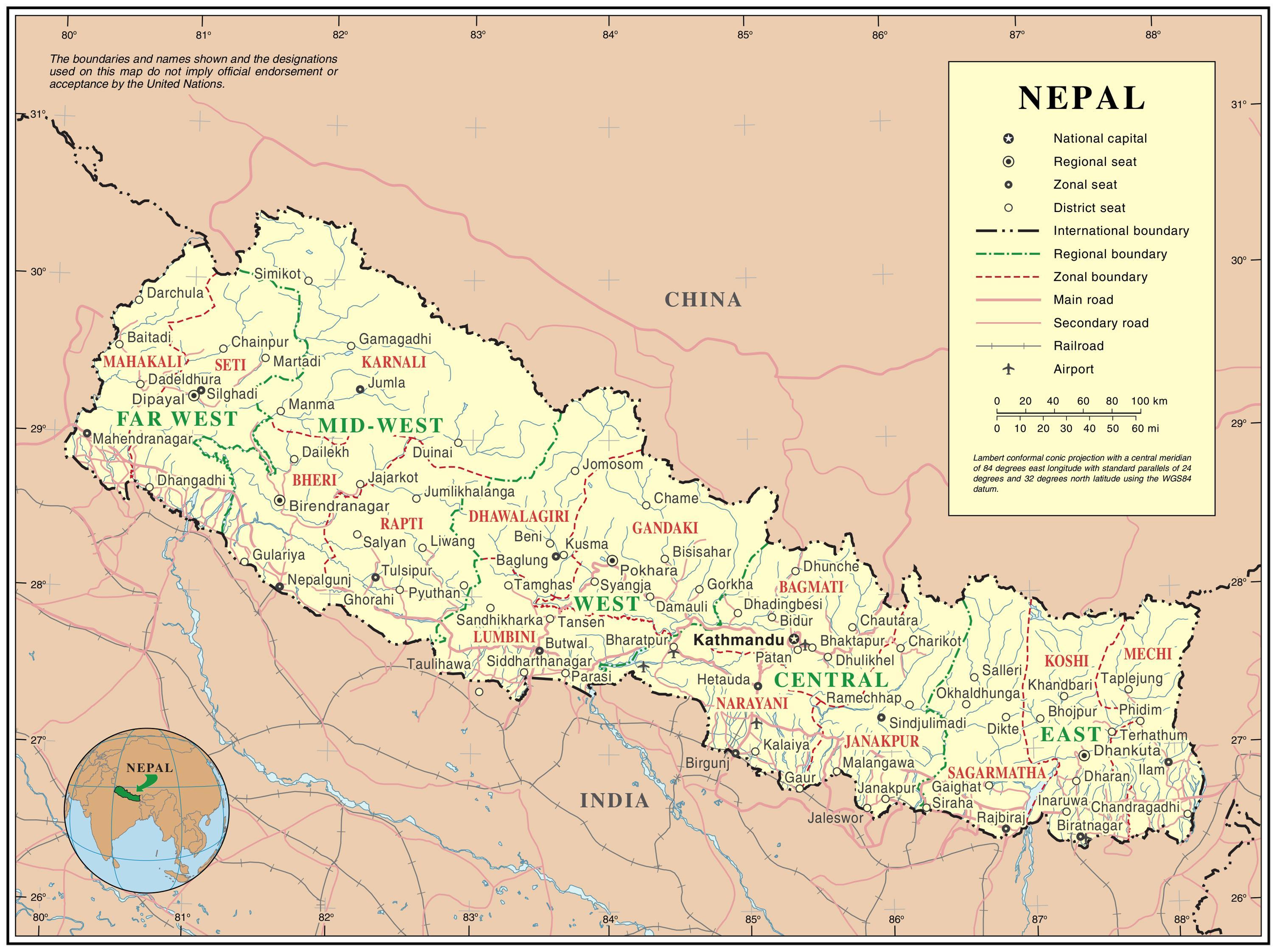 Cartina Dettagliata Del Nepal.Mappa Dettagliata Del Nepal La Mappa Online Del Nepal Sud Est
