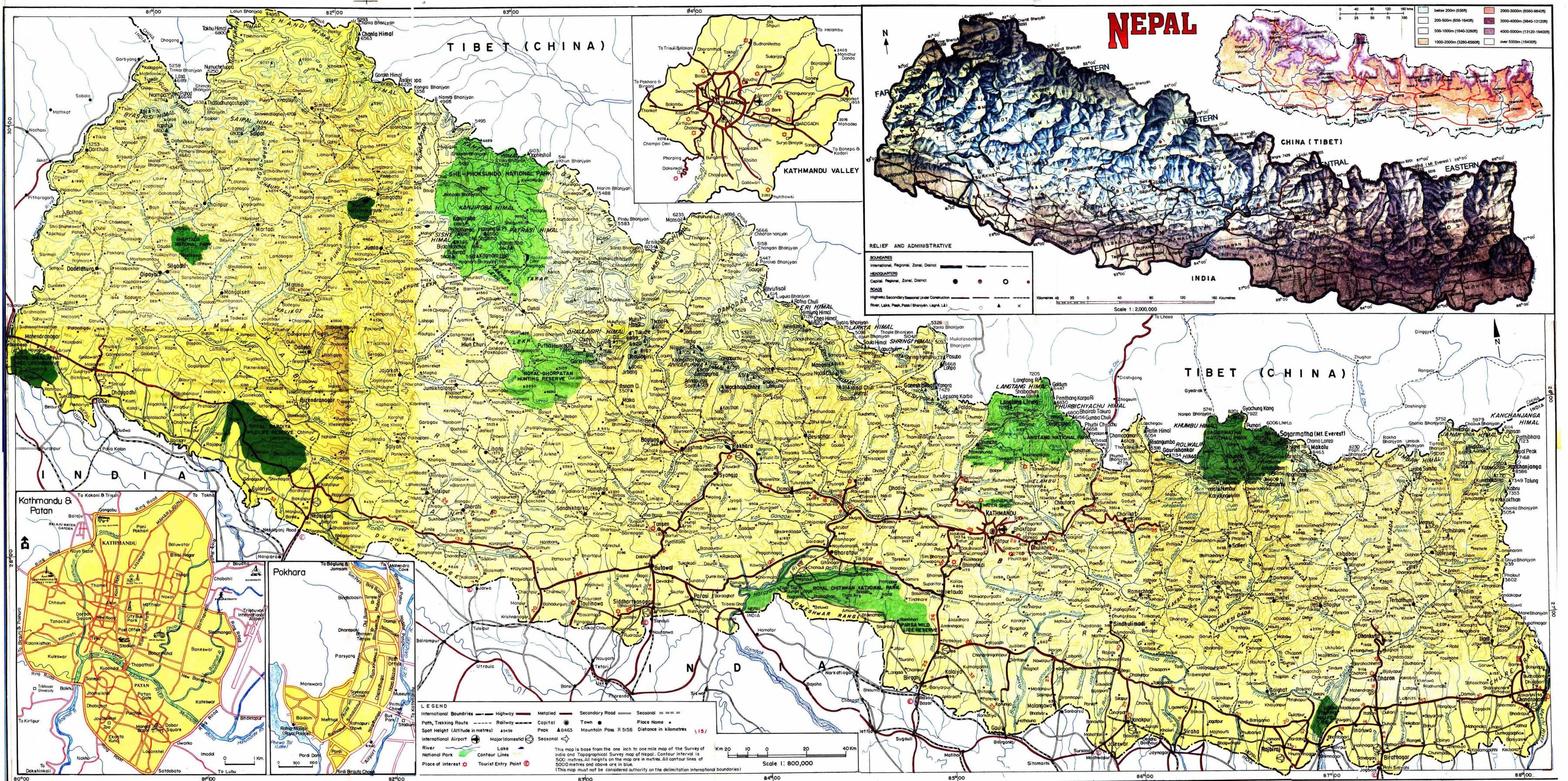 Cartina Dettagliata Del Nepal.Nepal Mappa Stradale Mappa Stradale Di Nepal Con Distanza L